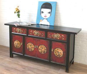 Sideboard Kommode Schrank Lowboard chinesisch asiatisch orientalisch rot-schwarz Büffet Anrichte Vintage Shabby Chic Landhaus Stil China Asia