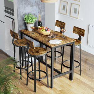 VASAGLE Barhocker, 2er Set Barstühle, Küchenstühle mit stabilem Metallgestell, Sitzhöhe 73,2 cm, einfache Montage, Industrie-Design, vintagebraun-schwarz LBC026B01