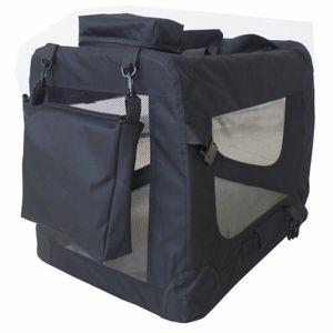 Faltbare Hundebox Transporttasche Transportbox Auto für Katze Hunde Große Kleine Box Bag Bed Decke Klein Auto Transport 7 Größen Taschen Fünf Farben Petigi, Farbe:Schwarz, Größe:XXL (90 x 60 x 65 cm)