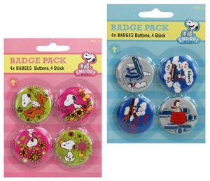 4er Set Snoopy  Big-Buttons Badge pack - Grösse Ø3,8 cm, verschiedene Farben