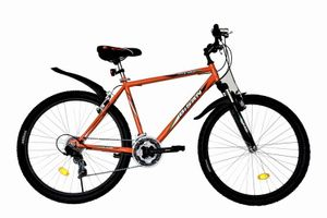 26 Zoll Herrenfahrrad Herrenrad Jugend Jungen Mädchen Herren Fahrrad Mountainbike MTB Rad Bike Gabelfederung Federgabel 21 Gang Beleuchtung ORANGE 4200