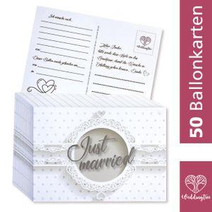 WeddingTree 50 Ballonkarten Hochzeit Vintage - Weiße Hochzeit Design – Gelocht