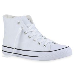 Mytrendshoe Damen Sneaker High Schnürer Bequeme Stoffschuhe Schuhe 835934, Farbe: Weiß, Größe: 38