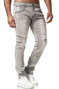 Herren Denim Jeans Klassische Regular Fit Hose Used Destroyed Look, Farben:Grau, Größe Jeans:30W