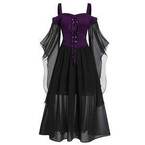 Womne Plus Size Cold Shoulder Schmetterlingsärmel Schnüren Halloween-Kleid Größe:XXL,Farbe:Lila