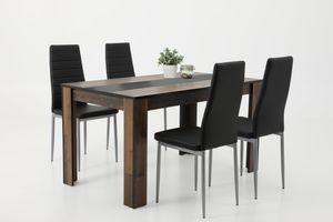 Essgruppe Helene IV  Tisch Oldwood Wendepl. schwarz/weiß, 4x Stuhl schwarz
