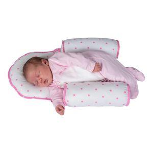 Seitenlagerungskissen Rosa/Weiß Sevibaby Baumwolle Baby Kopfkissen Kopfformendes Kissen 33-2
