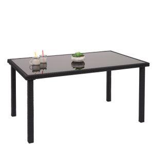 Poly-Rattan Tisch HWC-G19, Gartentisch Balkontisch, 120x75cm  schwarz