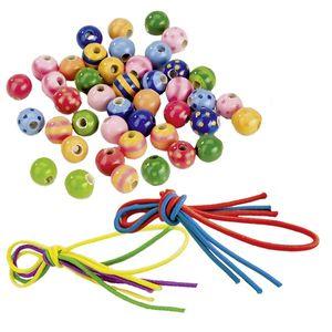 goki 60945 Perlen mit Bändern, Ø=10 mm, Holz, 3 Bänder, 44 Perlen (Farbe zufällig, 1 Set)