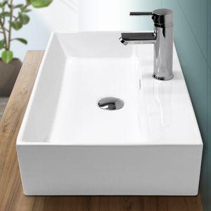 ECD Germany Waschbecken Waschtisch 605 x 365 x 130 mm aus Keramik Eckig Weiß mit Überlauf - Aufsatzbecken Aufsatzwaschbecken Handwaschbecken Aufsatzwaschtisch Spülbecken Becken Wasserfall Waschschale Waschschlüssel