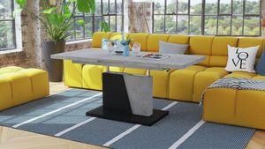 Design Couchtisch Tisch Grand Noir Beton Betonoptik / Schwarz matt stufenlos höhenverstellbar ausziehbar 120 bis 180cm Esstisch