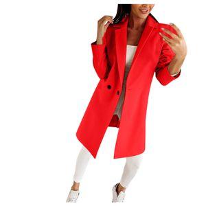 Mode Frau künstlicher Wollmantel Schlanke weibliche lange Mantel Oberbekleidung Jacke Größe:M,Farbe:Rot
