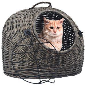【Modernen Design】Hunde Transportboxen Katzen Transportkorb Grau 60×45×45 cm Hochwertiger Möbel  Natürliche Weide Produktgröße:60 x 45 x 45 cm Hochwertiger Möbel Tier Haustierbedarf Haustierbedarf Transportboxen, taschen♔5364