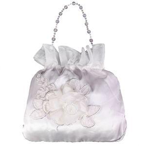 2 / Pack Hochzeitstaschen Satin Geldbeutel Brautjungfer Dolly Bag Handtasche   Weiß