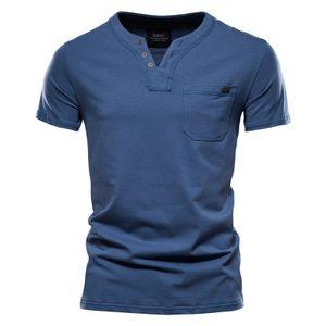 Herren Henry T-Shirt Lässig Einfarbig V-Ausschnitt Kurzarm Oberteil Pullover T-Shirt,Farbe: Blau,Größe:L