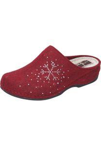 Manitu Damen Hausschuhe Pantoffeln Keilabsatz 330204, Größe:38 EU, Farbe:Rot