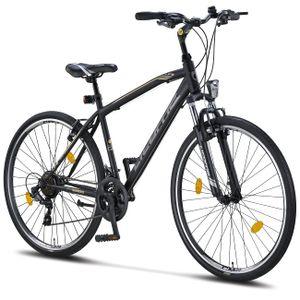 Licorne Bike Life M-V Premium Trekking Bike in 28 Zoll - Fahrrad für Jungen, Mädchen, Damen und Herren - Shimano 21 Gang-Schaltung - Herrenfahrrad - Jungenfahrrad, Farbe: Schwarz/Grau, Zoll:28.00