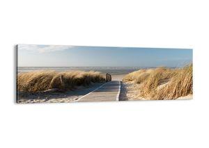 "Leinwandbild - 90x30 cm - ""Hinter der Düne, im Rascheln des Grases""- Wandbilder - Meer Strand Düne - Arttor - AB90x30-2657"