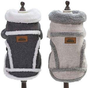 Hundekleidung Für Kleine Hundepullover Hund Kleidung Herbst Winter Haustier Katze Hundebekleidung Sweater Warm Kapuzenjacke Hundemantel Grau, l
