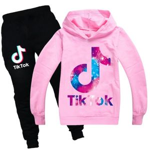 ASKSA TIK Tok Set Sweatshirt mit Kapuze Jogginganzug Mädchen Jungen Tick Toc Sweatshirt Hosen Set Kleidung für Kinder Geschenk (Rosa,140cm)