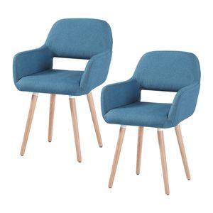Esszimmerstuhl 2er Set Küchenstuhl Wohnzimmerstuhl Design Stuhl Retro Stuhl Polsterstuhl mit Arm- und Rückenlehne , 4 Fußgestelle aus Massivholz