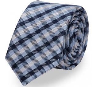 Schlips Krawatte Krawatten Binder 6cm blau weiß kariert Fabio Farini