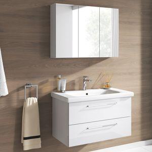 Badmöbel Set Neapel 2 tlg. Hochglanz Weiss Spiegelschrank Waschbeckenschrank 80cm