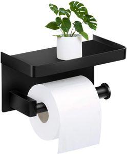 NightyNine Toilettenpapierhalter Ohne Bohren mit Ablage, Klopapierhalter Edelstahl selbstklebend WC rollenhalter Wandmontage für Küche und Badzimmer Schwarz