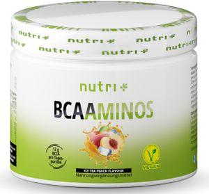 BCAA POWDER PFIRSICH-EISTEE - Aminosäuren Mix hochdosiert - Vegan - BCAAs Instant Pulver - Branched-Chain Amino Acids - Aminosäure Nahrungsergänzung 300g - Aminosäurepulver