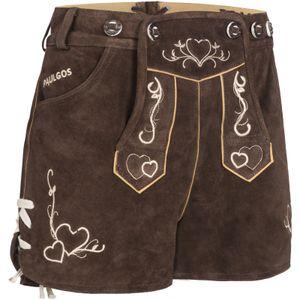 PAULGOS Damen Trachten Lederhose kurz sexy Hotpants - H2 - Echtes Leder - Größe 34 - 42, Farbe:Dunkelbraun, Größe:34