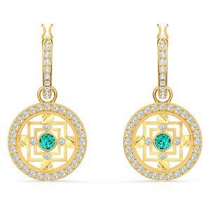 Swarovski Ohrringe 5521446 Symbolic Mandala, grün, vergoldet