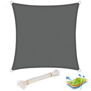 WOLTU Sonnensegel Quadrat 4x4m Grau wasserabweisend Sonnenschutz Polyester Windschutz mit UV Schutz für Garten Terrasse Camping