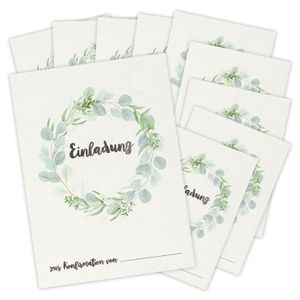 bigdaygraphix 10 Einladungskarten Konfirmation Eukalyptus Grün Einladungen Mädchen Junge Blume