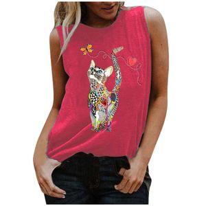 2021 Damenmode und bequeme Trendweste Round Neck Animal Print Top Größe:S,Farbe:Rosa