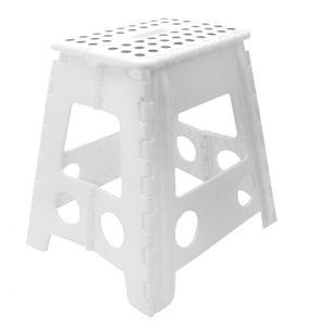 Klapphocker / Tritthocker, 29x22x39 cm, weiß-schwarz