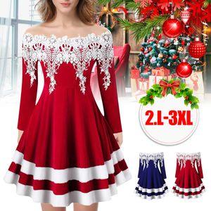 Zanzea Weihnachten Party Kleider Damen Weihnachtsmann Kostüm Samt Kleid Miss Santa Claus Kostüm Langarm Weihnachtskleider Weihnachtsfrau Midi Kleid Größe XL