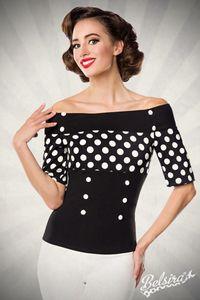 Jersey-Bluse mit dekorativen Stoffknöpfen, Farbe: Schwarz/Punkte, Größe: 3XL