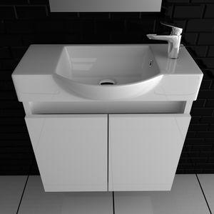 Kopie von Keramik 340-Lugano-550 + Lugano 550 Unterschrank weiß Weiß hochglanz