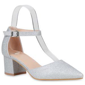 Mytrendshoe Damen Spitze Pumps Glitzer Absatzschuhe Party Schuhe Riemchenpumps 833611, Farbe: Silber, Größe: 40