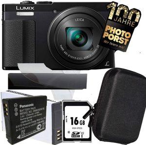 PHOTO PORST - Postfiliale Jubiläumsangebot Panasonic Lumix TZ71 EG-K schwarz inkl. Kameratasche, Qualitäts Akku, Speicherkarte, Mikrofaser Reinigungstuches und Displayschutzfolie