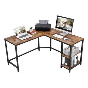 VASAGLE Schreibtisch 2 Ablagen Holzoptik Metallgestell 138 x 138 x 75 cm einfacher Aufbau Computertisch Eckschreibtisch Vintage LWD72X