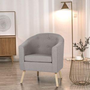 Chesterfield Sessel Loungesessel Cocktailsessel Armsessel, Wohnzimmer Möbel, Design-Polstermöbel(Einzelsofastuhl aus massivem Holz) |grau