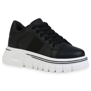 Giralin Damen Plateau Sneaker Keilabsatz Schnürer Profil-Sohle Schuhe 836382, Farbe: Schwarz, Größe: 39