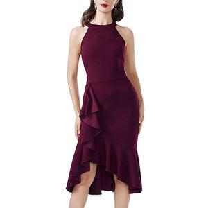 Damen Sommerkleid Saum Dinner Party Kleid,Farbe: Rot,Größe:L