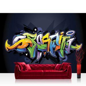 Vlies Fototapete no. 0409 - 200X140 cm - 409 Graffiti Tapete Kindertapete Graffiti Malerei bunt Muster Schrift grün liwwing (R)
