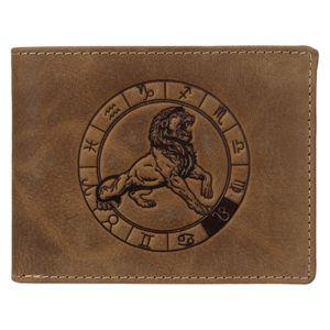 Greenburry Geldbörse Herren Leder braun antik Vintage mit Sternzeichen Motiv LÖWE Prägung Portemonnaie 12,5 x 9,5cm