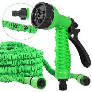 Juskys Flexibler Gartenschlauch Aqua - Wasserschlauch flexibel dehnbar bis 45 m – Flexischlauch knickfest mit 7-Funktions-Handbrause & Adapter – Grün