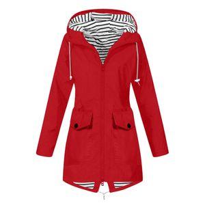 Frauen Solid Rain Jacke Outdoor Plus Size Wasserdichte Kapuze Winddichter lockerer Mantel Größe:S,Farbe:Rot