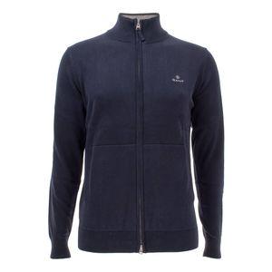 Gant Herren Strickjacke Baumwolle Zip Cardigan, Größe:XXL, Farbe:Blau(433)