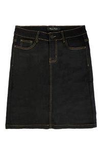 Damen Denim Jeans Rock Classic Stretch Knielang Basic Midi Skirt Dicke Kontrast Naht mit Schlitz, Farben:Schwarz, Größe:40